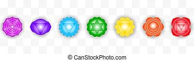 sette, set, colorito, oggetto, isolato, chakras, simboli, fondo., disegno, trasparente
