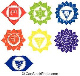 sette, set, yoga, kundalini, spirituale, icons., simboli, vettore, chakras, segni