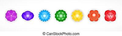 sette, simboli, fondo., disegno, oggetto, chakras, isolato, bianco, colorito, set