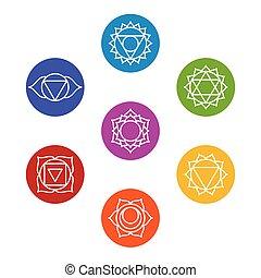 sette, symbols., yoga, set, chakra, meditazione