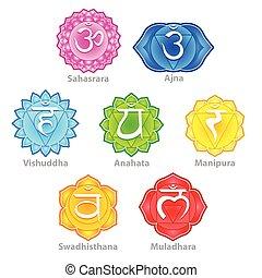 sette, vettore, chakras, icone, set