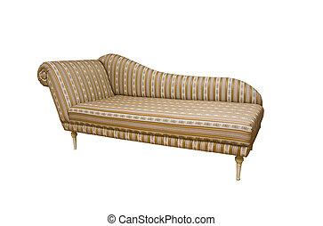 An old fashion sofa with stripes on white background