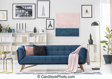 Settee and blanket - Navy blue settee, cushions, pink...