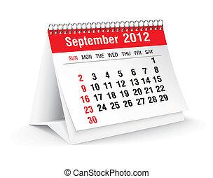 settembre, calendario, 2012, scrivania