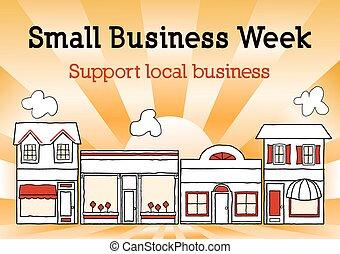 settimana, affari, stati uniti, strada, piccolo, principale