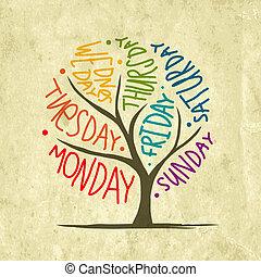 settimana, arte, 7petal, albero, giorni, disegno
