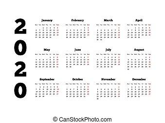Calendario 2020 Orizzontale.2020 Calendario Disegno Orizzontale Anno Illustrazione