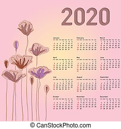Calendario 2020 Con Le Settimane.Inizi Calendario 2020 Week Sunday Illustration