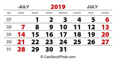 Calendario 31 Luglio 2019.Settimana Parete Maggio Inizio 2019 Sunday Calendario