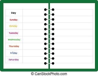 settimanale, quaderno, verde, pianificatore