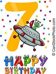 settimo, compleanno, disegno, cartone animato