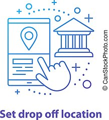 Setting drop off location concept icon. Choosing finish destination point idea. Thin line illustration. Carpooling service. Vector isolated outline drawing