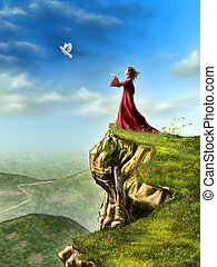 Setting free - A dove is set free to fly by a woman standing...