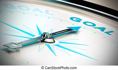 Setting Goals and Achieve Them - Compass, needle pointing...