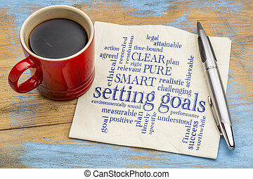 setting goals word cloud on napkin
