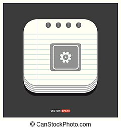 Setting icon Gray icon on Notepad Style template Vector EPS 10 Free Icon