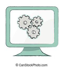 Setting icon on computer monitor - Vector Illustration