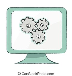 Setting icon on computer monitor - Vector Illustration