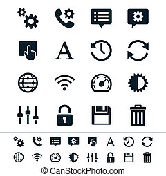 Setting icons - Simple vector icons. Clear and sharp. Easy ...