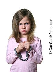 Little girl with angry expression isolated on white background wearing toy handcuffs