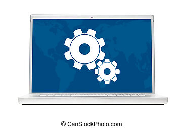 modern laptop - setting modern laptop isolated on white...