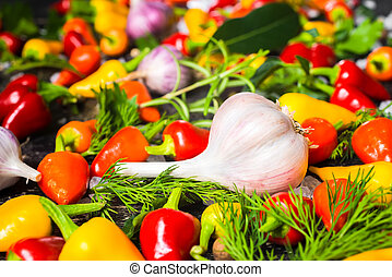 setting of garlic, yellow, red hot chili peppers, sea salt, different greenery and black peppers on cracks black background, close up