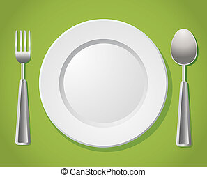 setting place - white plate witn silver spoon and fork