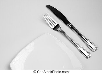 setting posto, per, uno, person., coltello, quadrato, piastra bianca, e, fork.
