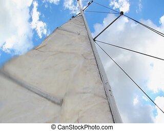 Setting sail on a sailboat
