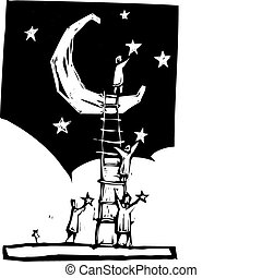 Setting Stars - People on a ladder resting against a moon ...