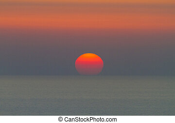 setting sun on the sea
