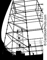 Setting Up a Scaffolding for an Outdoor Stage