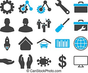 Settings and Tools Icons. Vector set style: bicolor flat ...