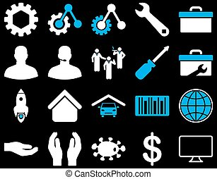 Settings and Tools Icons. Vector set style is bicolor flat...