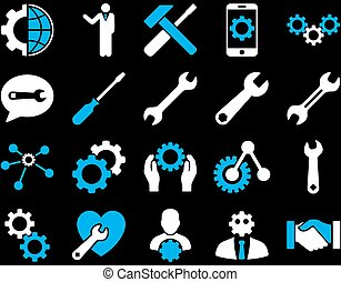 Settings and Tools Icons. Vector set style is bicolor flat ...