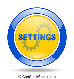 settings blue and yellow web glossy round icon