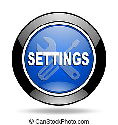 settings blue glossy icon
