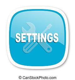 settings blue glossy web icon