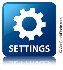 Settings blue square button