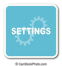 settings blue square internet flat design icon