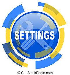 settings blue yellow glossy web icon