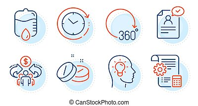 Settings blueprint, Drop counter and Time change icons set. ...
