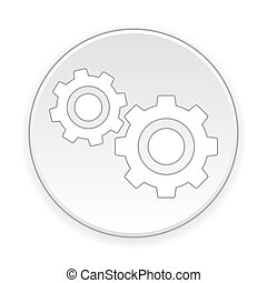 Settings button on white background. Vector illustration.