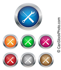 Settings buttons in various colors