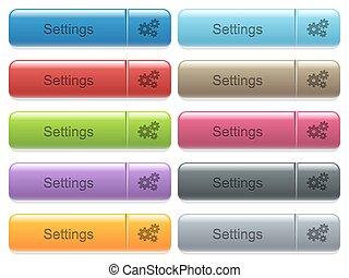 Settings captioned menu button set