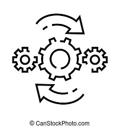 Settings changes line icon, concept sign, outline vector ...