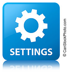 Settings cyan blue square button