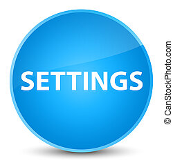 Settings elegant cyan blue round button