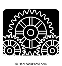 settings engine icon, vector illustration, black sign on isolated background
