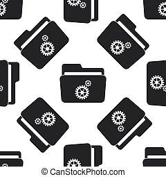 Settings folder icon seamless pattern on white background. Flat design. Vector Illustration